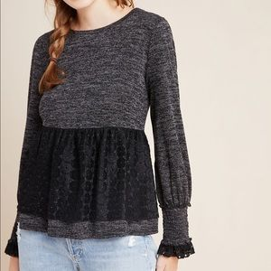 Anthropologie RO + DE Black/Gray Amirah Lace Top S